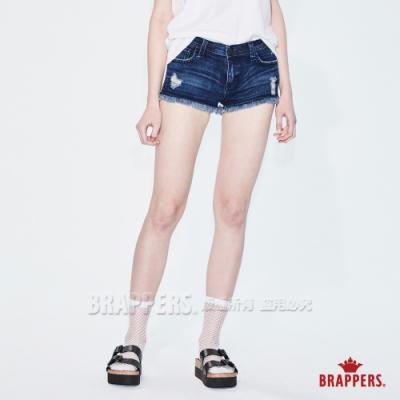 BRAPPERS 女款 Boy Friend系列-中低腰彈性不收邊短褲-深藍