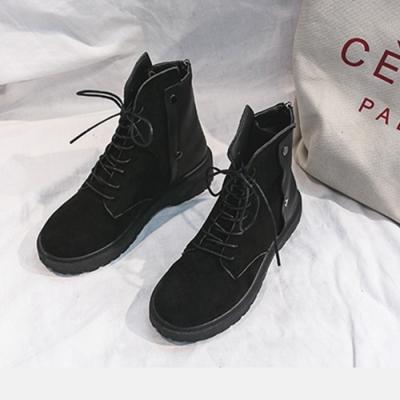 KEITH-WILL時尚鞋館歐洲站時尚潮流菱格絨面平底靴-黑色