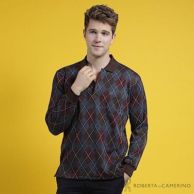 ROBERTA諾貝達 台灣製 時尚型男 經典菱格紋POLO長袖棉衫 咖啡