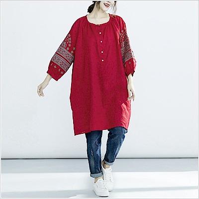 民族風情刺繡襯衫洋裝(共二色)-Keer
