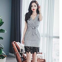 DABI 韓國風時尚格子蕾絲拼接顯瘦V領性感無袖洋裝