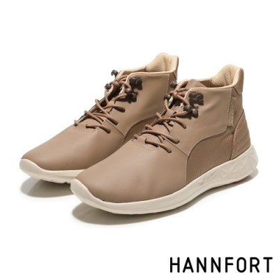 HANNFORT ICE防潑水科技綁帶運動短靴-女-潮流卡其