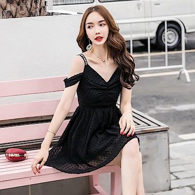 DABI 韓國風字母肩帶露肩荷葉邊收腰氣質短袖洋裝