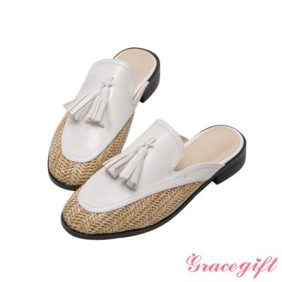 Grace gift-異材質流蘇平底穆勒鞋 白