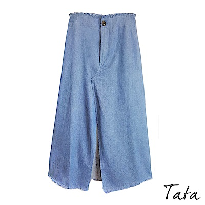 前開叉鬆緊腰牛仔裙 TATA