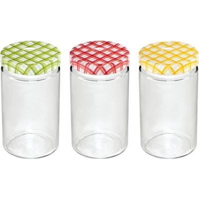 《TESCOMA》格紋玻璃密封罐3入(700ml)