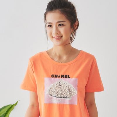 【白鵝buyer】 CH珍珠造型立體造型T恤_橘