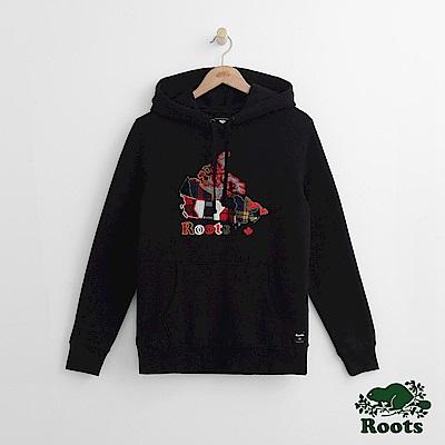 Roots -女裝- 彩格加拿大帽T - 黑
