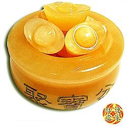 紅運當家 天然黃玉聚寶盆(93mm)+6只黃玉元寶 優惠組