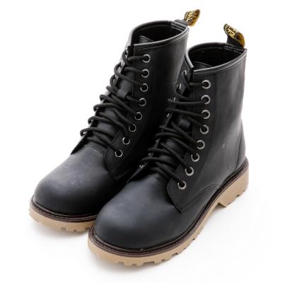 River&Moon中靴-台灣製經典8孔綁帶馬丁靴-霧面黑