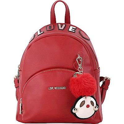 LOVE MOSCHINO 字母拼貼童趣毛球吊飾後背包(紅色)