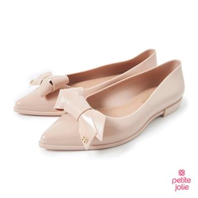 Petite Jolie--可愛領結尖頭果凍娃娃鞋-粉膚