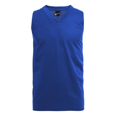 【V-TEAM】斜紋率性吸排籃球背心-中藍