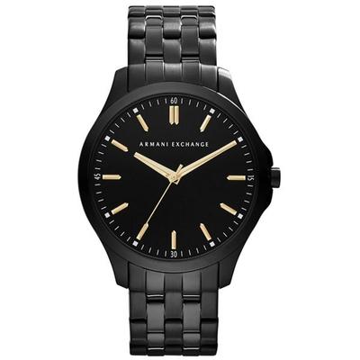 A|X Armani Exchange 極簡雅仕時尚主義腕錶-黑x金刻-AX2144