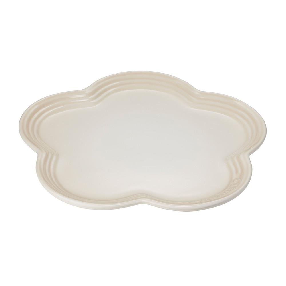LE CREUSET瓷器花型盤23cm(蛋白霜)