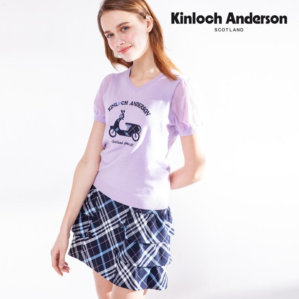 【Kinloch Anderson金安德森】2021新色格紋雙排釦厚鬆緊蛋糕裙(短裙-混紡-黑/藏青深藍)