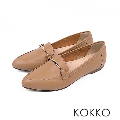 KOKKO - 男朋友風潮真皮尖頭休閒鞋 - 大地棕