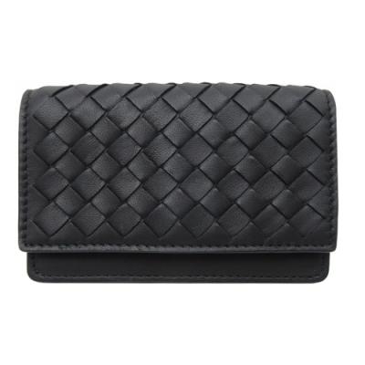 BOTTEGA VENETA 小羊皮編織扣式卡夾(黑色)