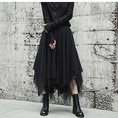 秋冬新款暗黑多層次不規則剪裁長裙網裙055設計所在