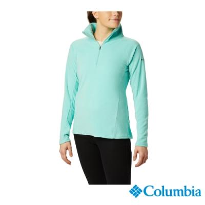 Columbia 哥倫比亞  女款-半開襟刷毛上衣-湖水藍 UAK11310
