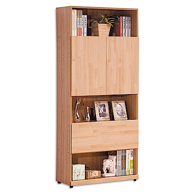 Boden-沃爾本2.7尺二門單抽開放式書櫃-80x32x182cm
