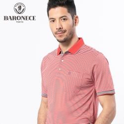 BARONECE 百諾禮士休閒商務  男裝  經典吸排條紋短袖POLO衫-橘紅色(1188289-78)