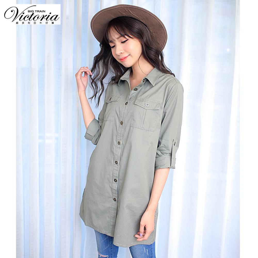 Victoria 素面水洗長版襯衫-女-綠色
