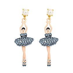 Les Nereides 優雅芭蕾舞女孩系列 白色珍珠銀藍色亮鑽芭蕾舞者耳環 耳針式