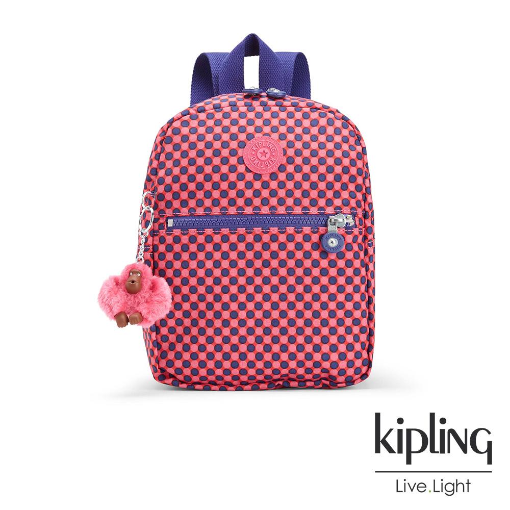 Kipling 後背包 粉紫圓點點印花-小