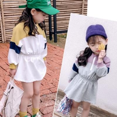 小衣衫童裝 女童秋冬運動風拼色長袖收腰連身裙1080913
