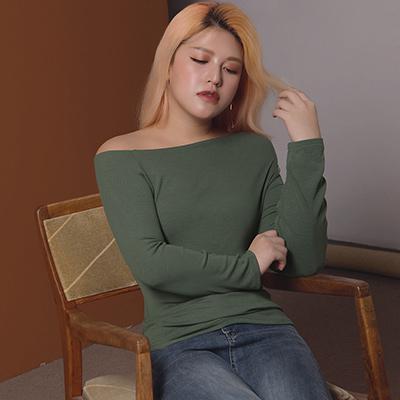 AIR SPACE LADY 中大尺碼 單肩造型舒棉長袖上衣(灰綠)