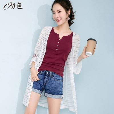 初色  條紋網紗喇叭袖罩衫-白色-(M-2XL可選)