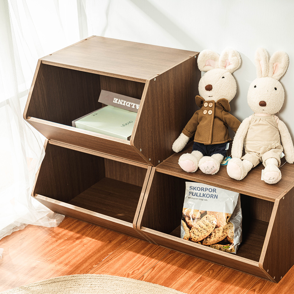 樂嫚妮 DIY 日式 收納櫃/置物櫃/玩具櫃-淺胡桃木色3入組-42X28.2X27.6cm
