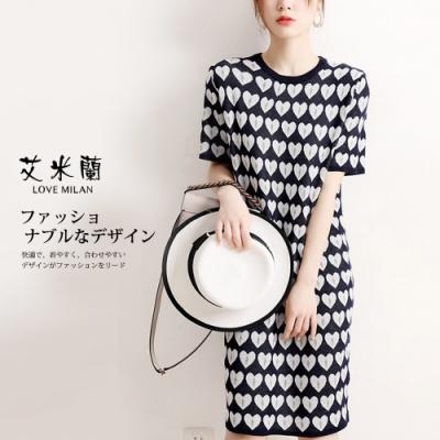 艾米蘭-韓版圓領名媛風愛心花紋造型洋裝-2色(M-L)