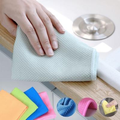 魚鱗格玻璃專用清潔抹布10入(隨機色)贈布藝紅包袋2入(隨機款)