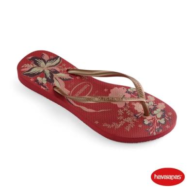 Havaianas 哈瓦仕 拖鞋 夾腳拖 人字拖 花卉 巴西 女鞋 機械紅/玫瑰金 4132823-6743W Slim Organic