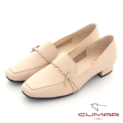 【CUMAR】小方頭編織帶粗跟樂福鞋-杏色