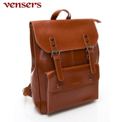 【vensers】小牛皮潮流個性包~後背包(NL1078301棕色)