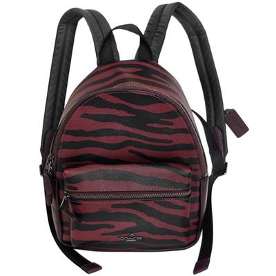COACH酒紅斑馬紋拼接深可可真皮小款後背包