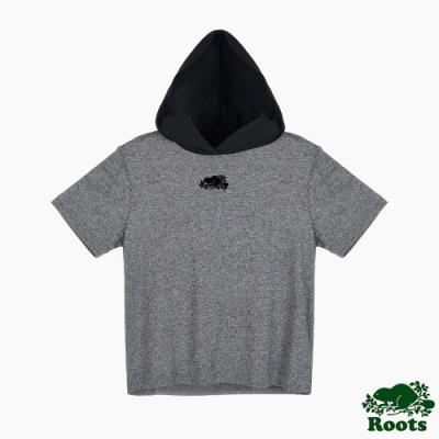 Roots 女裝- 椒鹽灰系列 經典LOGO連帽短袖上衣-灰色