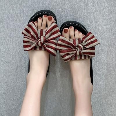 KEITH-WILL時尚鞋館 夏氛俏麗動人蝴蝶結條紋拖鞋-紅