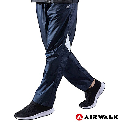 【AIRWALK】男款拼接風衣長褲-丈青色