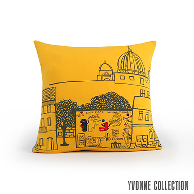 Yvonne Collection 柏林圍牆抱枕(60x60cm)-芥黃
