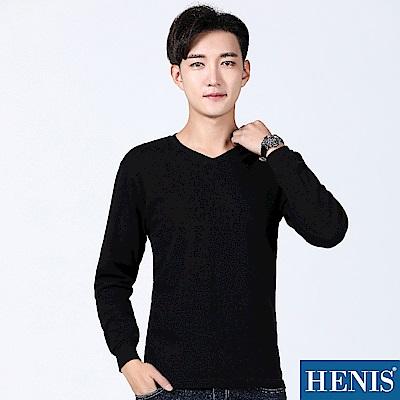 HENIS 極致羽感 內刷毛機能保暖衣-V領-黑(3入)