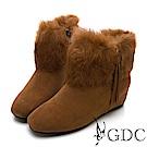 GDC-真皮毛絨水鑽貴婦秋冬短靴-駝色