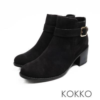 KOKKO -日出的光金扣真皮粗跟雀爾喜短靴 - 霧黑