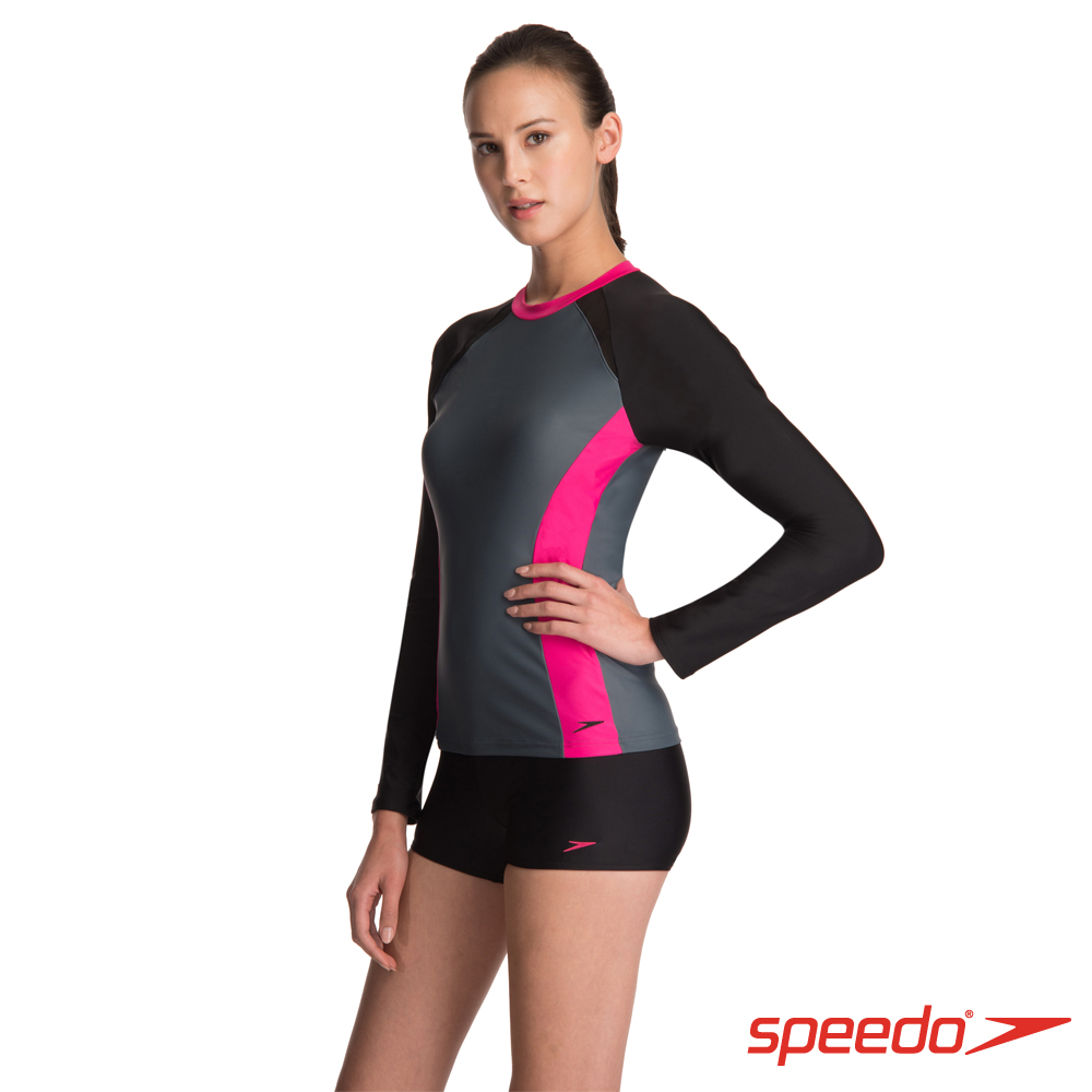 SPEEDO 女人運動長袖兩截式泳裝Hydrasport 黑/灰/粉紅