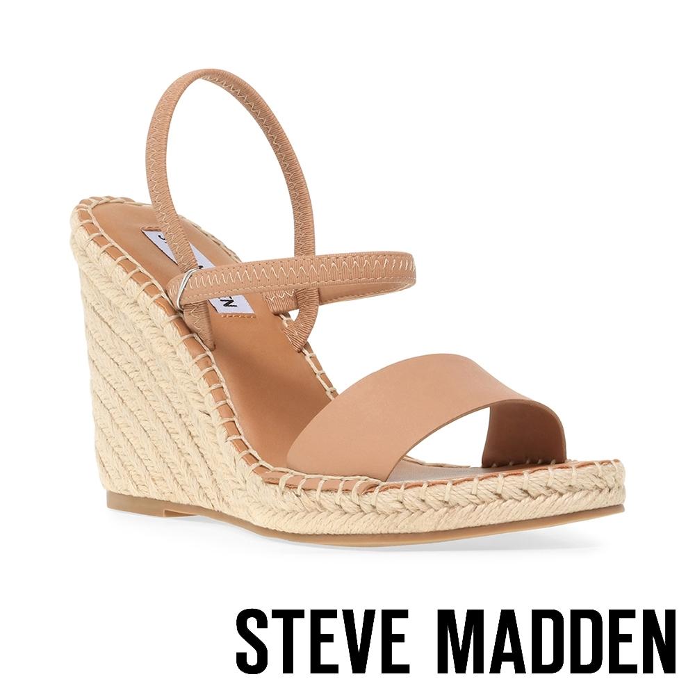 STEVE MADDEN-MCKENZIE 交叉繞踝細帶麻編楔型涼鞋-卡其