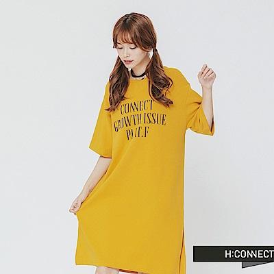 H:CONNECT 韓國品牌 女裝-休閒文字連身洋裝-黃