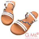 G.Ms. MIT系列-民族風彩色皮繩2way牛皮平底涼拖鞋-白色